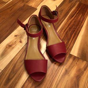 Clark's Red Peep Toe Leather Wedge